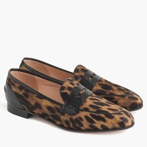 J crew academy penny loafers in leopard calf hair